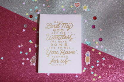 Notebook with bible verse Psalm 40:5 in beautiful gold calligraphy