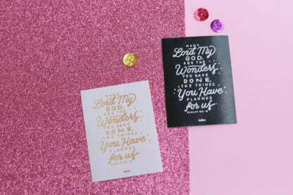 Stickers with bible verse Psalm 40:5 in beautiful gold calligraphy